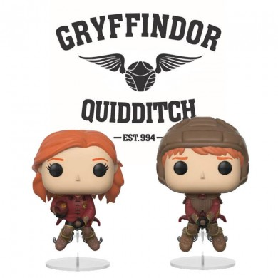 Funko Pop! Movies: Harry Potter - Ginny en Ron on Broom Quidditch set